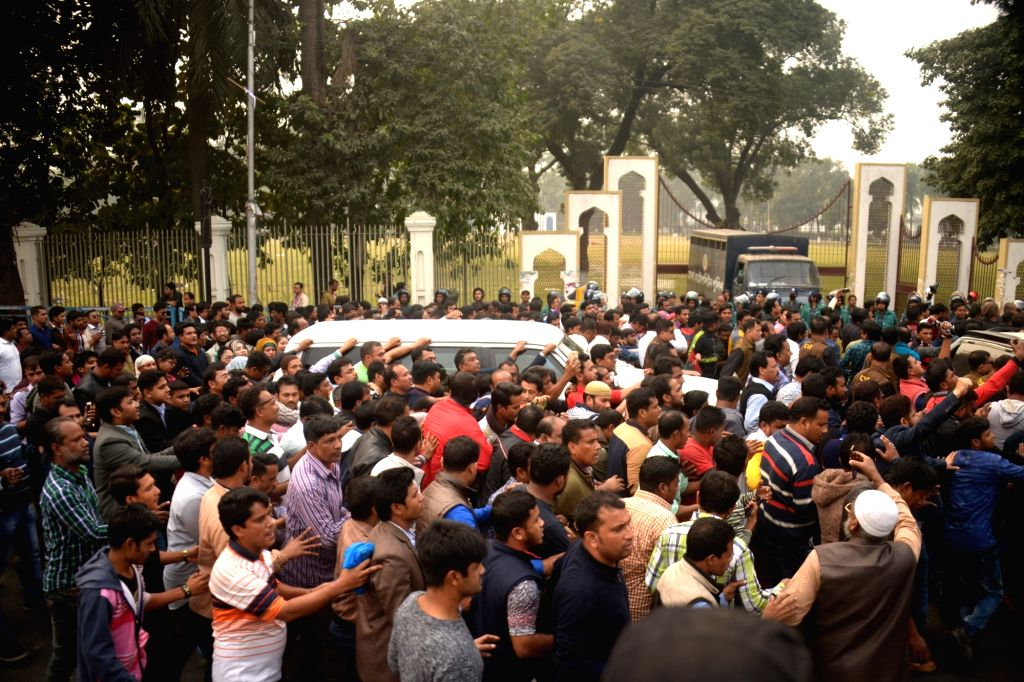 DHAKA, Jan. 18, 2018 - The motorcade of opposition leader and former Prime Minister Khaleda Zia heads to a court in Dhaka, capital of Bangladesh, Jan. 17, 2018. Khaleda Zia on Wednesday attended a ... - Khaleda Zia