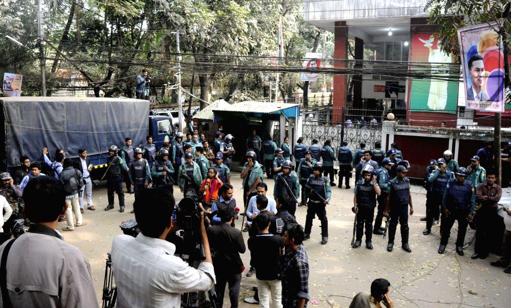 Police cordon off the office of Bangladeshi Ex-Prime Minister Khaleda Zia in Dhaka, Bangladesh, Jan. 5, 2014. Bangladeshi Ex-Prime Minister Khaleda Zia, who remained .. - Khaleda Zia