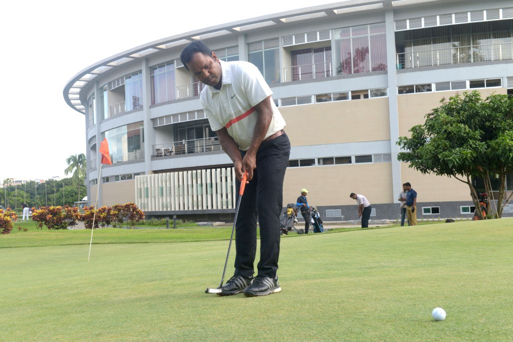 DHAKA, July 13, 2016 - Bangladesh golfer Siddiqur Rahman plays a shot during a practice at the Kurmitola Golf Club in Dhaka, Bangladesh, July 13, 2016. The Bangladeshi golfer has recently qualified ...