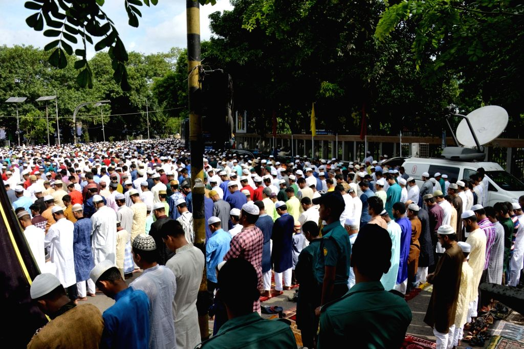 DHAKA, June 26, 2017 - Muslims offer Eid al-Fitr prayers marking the end of the holy fasting month of Ramadan in Dhaka, capital of Bangladesh, June 26, 2017.