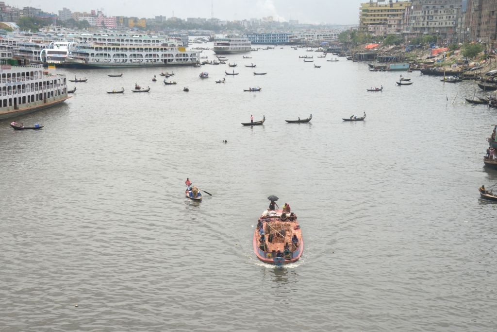DHAKA, May 22, 2018 - Vessels are seen on Buriganga river in Dhaka, Bangladesh on May 22, 2018. Water transportation is still an important means of communication in Bangladesh where traditional ...