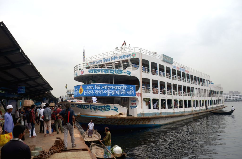 DHAKA, May 29, 2017 - Photo taken on May 29, 2017 shows a ferry stranded at Sadarghat launch terminal in Dhaka, capital of Bangladesh, after ferry services were suspended due to cyclone ...