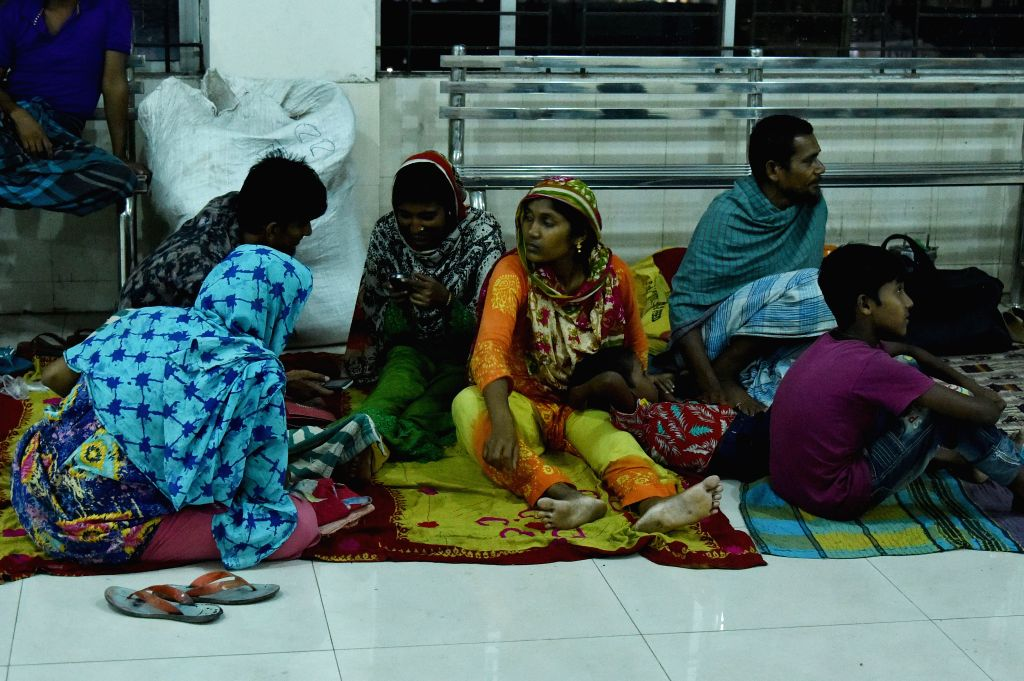 DHAKA, May 3, 2019 - Photo taken on May 3, 2019 shows stranded passengers waiting in the departure area at Sadarghat terminal in Dhaka, Bangladesh, after ferry services were suspended due to cyclone ...