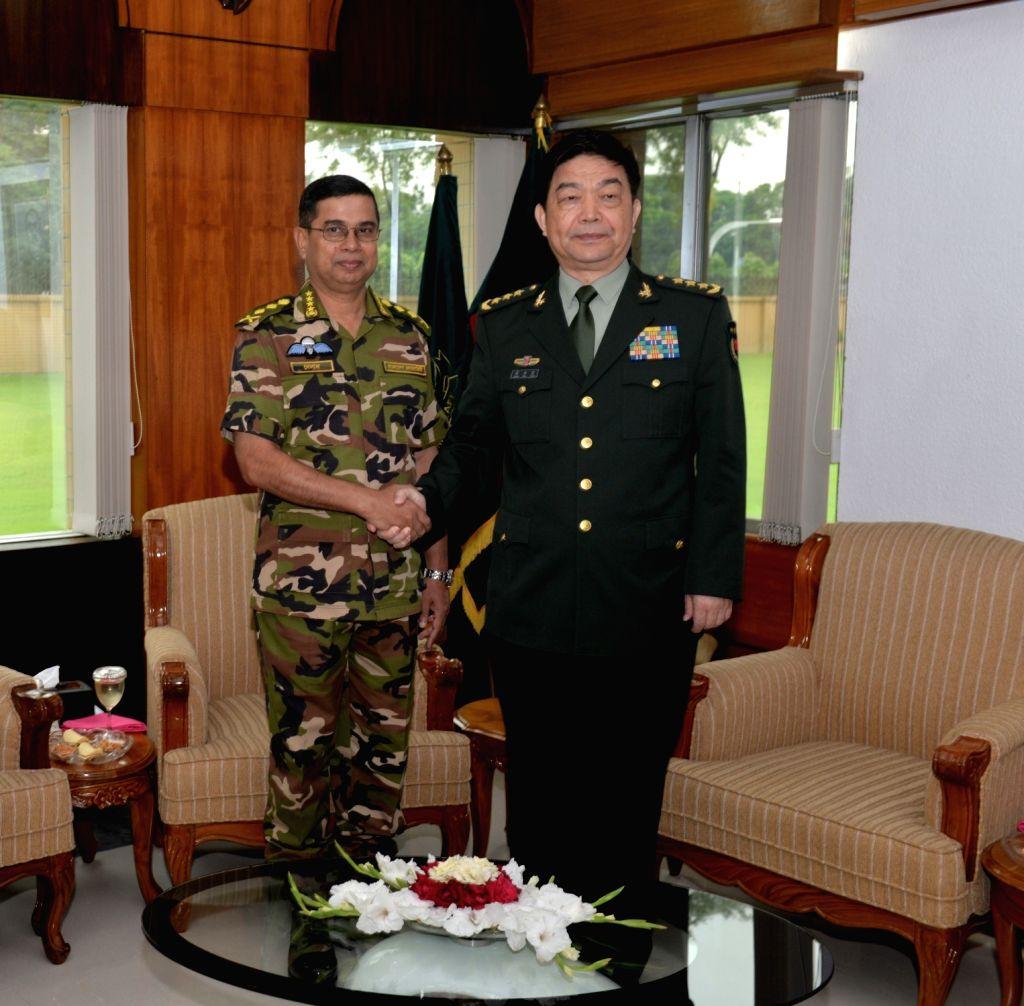 DHAKA, May 30, 2016 - Visiting Chinese Defense Minister Chang Wanquan (R) meets with Bangladesh's Chief of Army Staff General Abu Belal Muhammad Shafiul Hug in Dhaka, Bangladesh, May 29, 2016. - Chang Wanquan