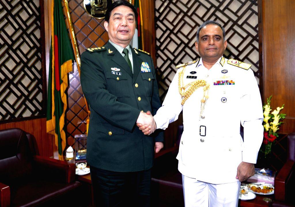 DHAKA, May 30, 2016 - Visiting Chinese Defense Minister Chang Wanquan (R) meets with Bangladesh's Chief of Naval Staff Admiral Mohammad Nizamuddin Ahmed in Dhaka, Bangladesh, May 29, 2016. - Chang Wanquan