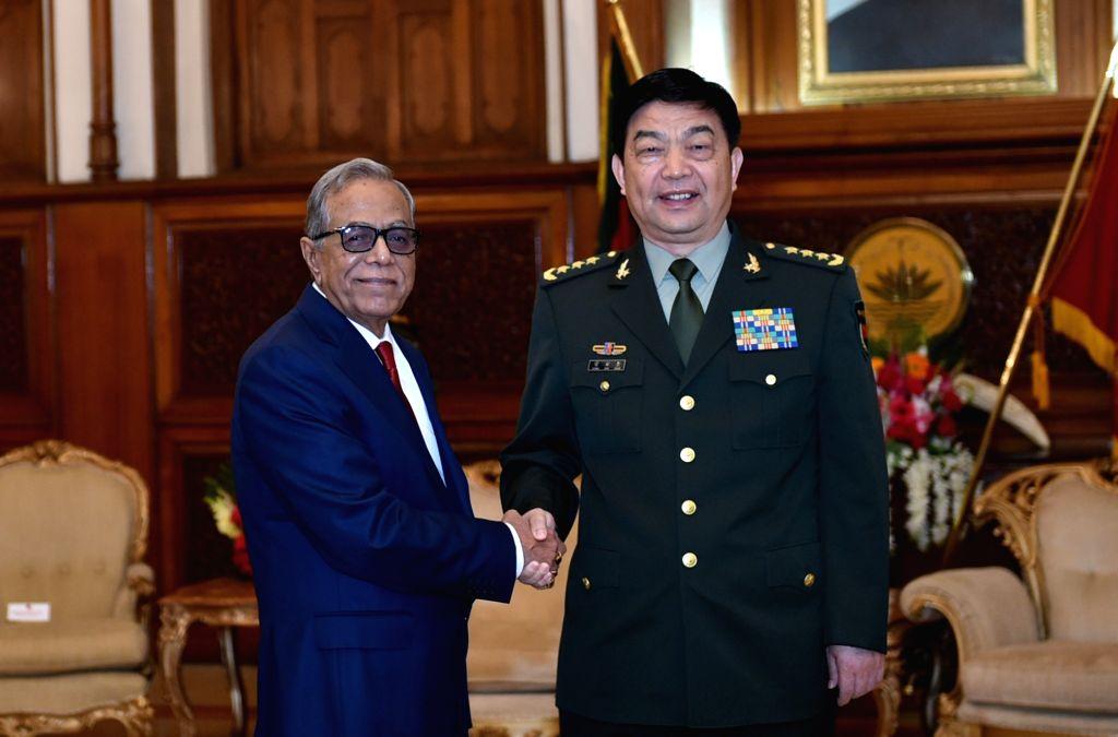 DHAKA, May 30, 2016 - Visiting Chinese Defense Minister Chang Wanquan (R) meets with Bangladeshi President Abdul Hamid in Dhaka, Bangladesh, May 29, 2016. - Chang Wanquan