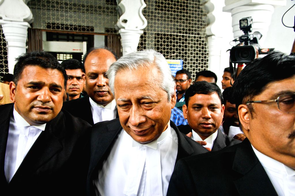 DHAKA, May 4, 2016 - Bangladeshi Attorney General Mahbubey Alam (C, front) arrives at the supreme court during a verdict announcement in Dhaka, Bangladesh, May 5, 2016. Bangladesh's highest court ...