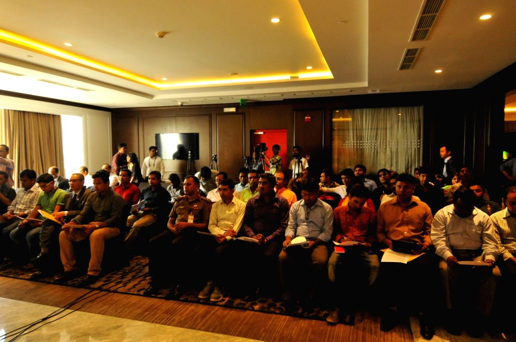 DHAKA, Oct. 26, 2016 - Journalists from local and foreign media attend a press conference of the 3rd meeting of South Asia Wildlife Enforcement Network (SAWEN) in Dhaka, Bangladesh, Oct. 26, 2016. ...