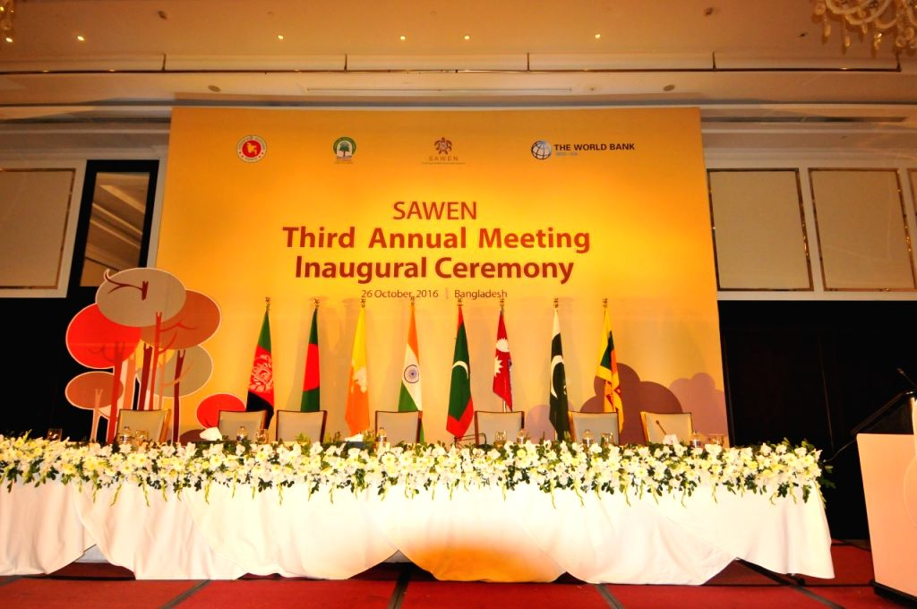 DHAKA, Oct. 26, 2016 - National flags of Afghanistan, Bangladesh, Bhutan, India, the Maldives, Nepal, Pakistan and Sri Lanka fly on the stage for inaugural ceremony of the 3rd meeting of South Asia ...