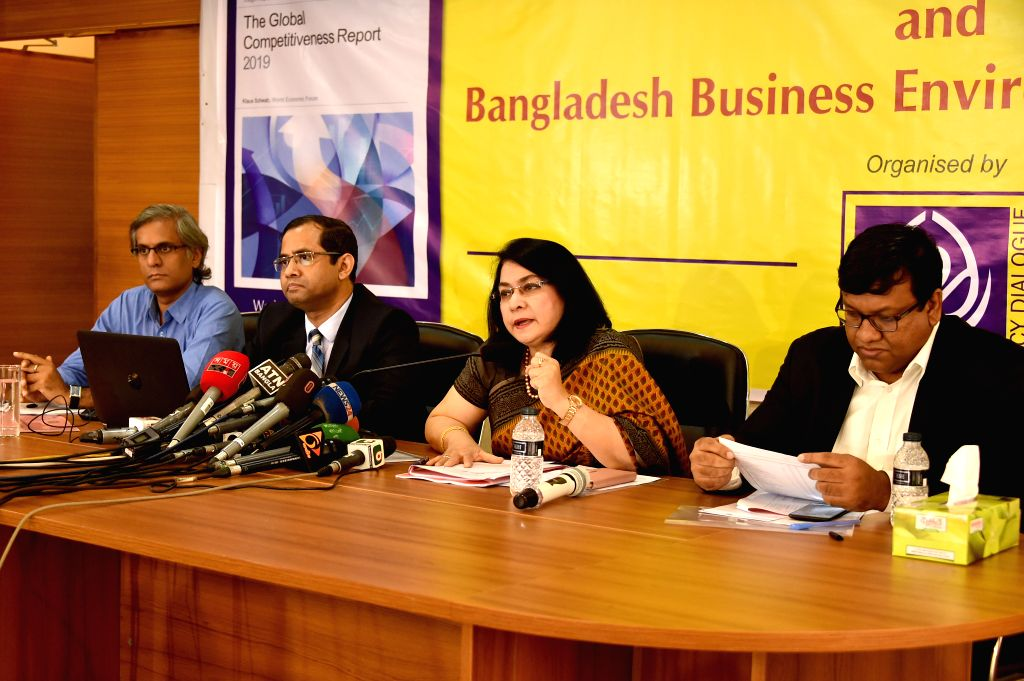 DHAKA, Oct. 9, 2019 - Fahmida Khatun (2nd R), Executive Director of the Centre for Policy Dialogue (CPD), speaks during a press briefing in Dhaka, Bangladesh, on Oct. 9, 2019. Bangladesh has slipped ...