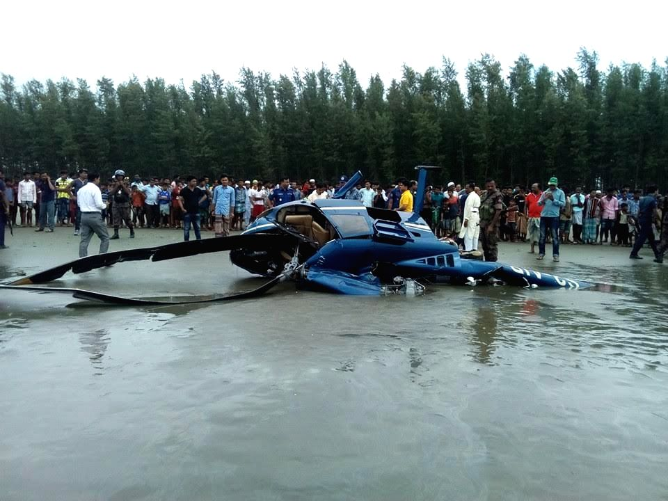 DHAKA, Sept. 16, 2016 - Photo taken on Sept. 16, 2016 shows the site of a helicopter crash in Bangladesh's Cox's Bazar, some 292 km southeast of capital Dhaka. One person was killed while four others ...
