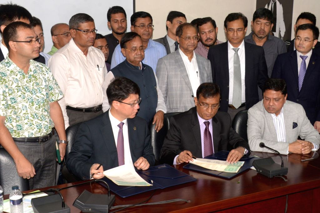 DHAKA, Sept. 17, 2017 - Photo taken on Sept. 16, 2017 shows the site of a railway-build agreement signing ceremony between Bangladeshi and Chinese firms, in Dhaka, Bangladesh. Two Bangladeshi and two ...