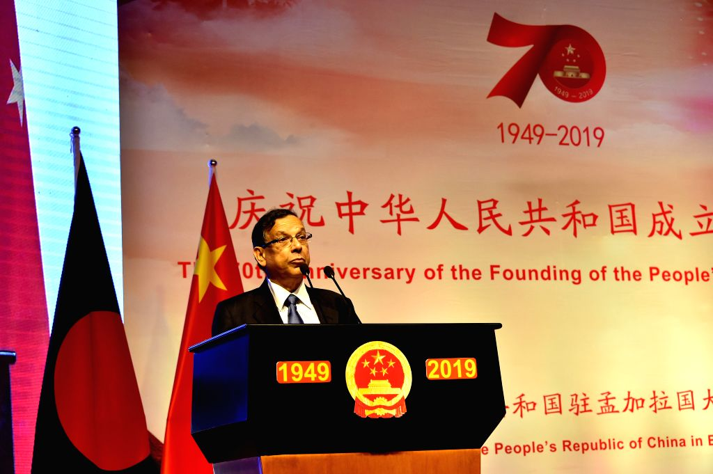 DHAKA, Sept. 26, 2019 - Bangladeshi Law Minister Anisul Huq speaks at a reception  to celebrate the 70th anniversary of the founding of the People's Republic of China in Dhaka, Bangladesh, Sept. 25, ... - Anisul Huq