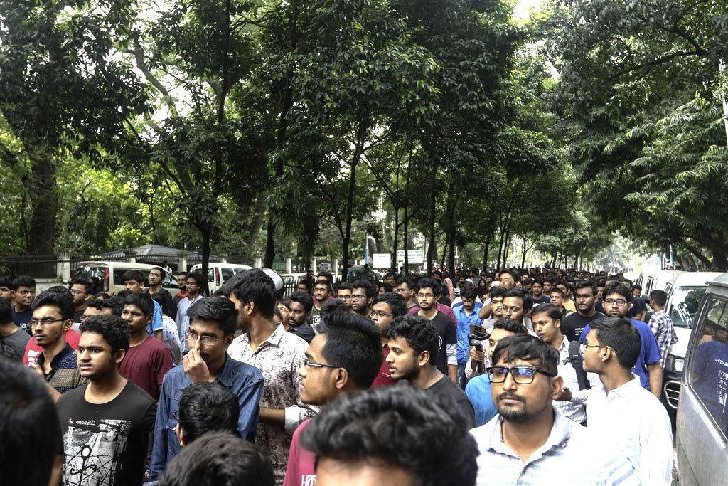 Dhaka: Students stage a demonstration against the alleged murder of an undergraduate second-year engineering student Abrar Fahad of Bangladesh University of Engineering and Technology (BUET) who was found dead in a dormitory with bruises on the body,