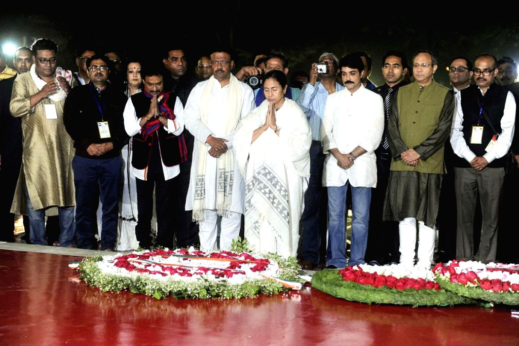 West Bengal Chief Minister Mamata Banarjee pays tribute at the Central Shaheed Minar in honour of the 1952 Language Movement martyrs in Dhaka, Bangladesh, on Feb 21, 2015.