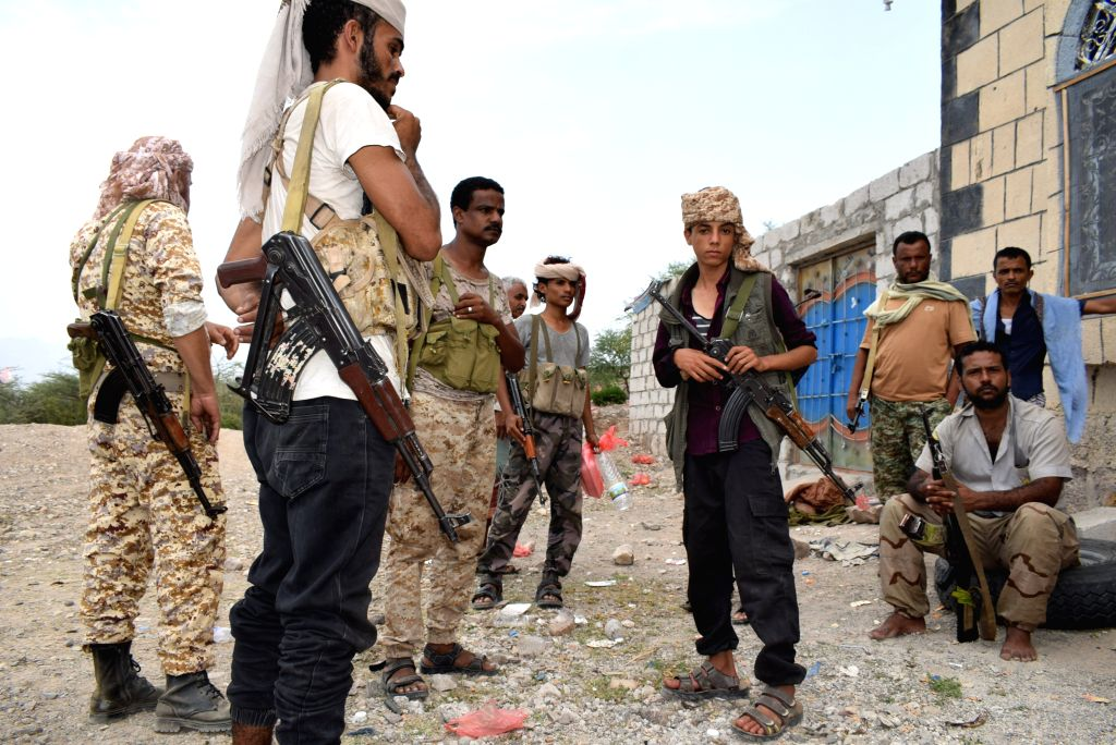 DHALEA (YEMEN), July 3, 2019 (Xinhua) -- Pro-government Yemeni soldiers are seen beside an abandoned house on the northern outskirts of Dhalea province, Yemen, on July 3, 2019. Pro-government Yemeni forces managed to abort a well-prepared Houthi plan