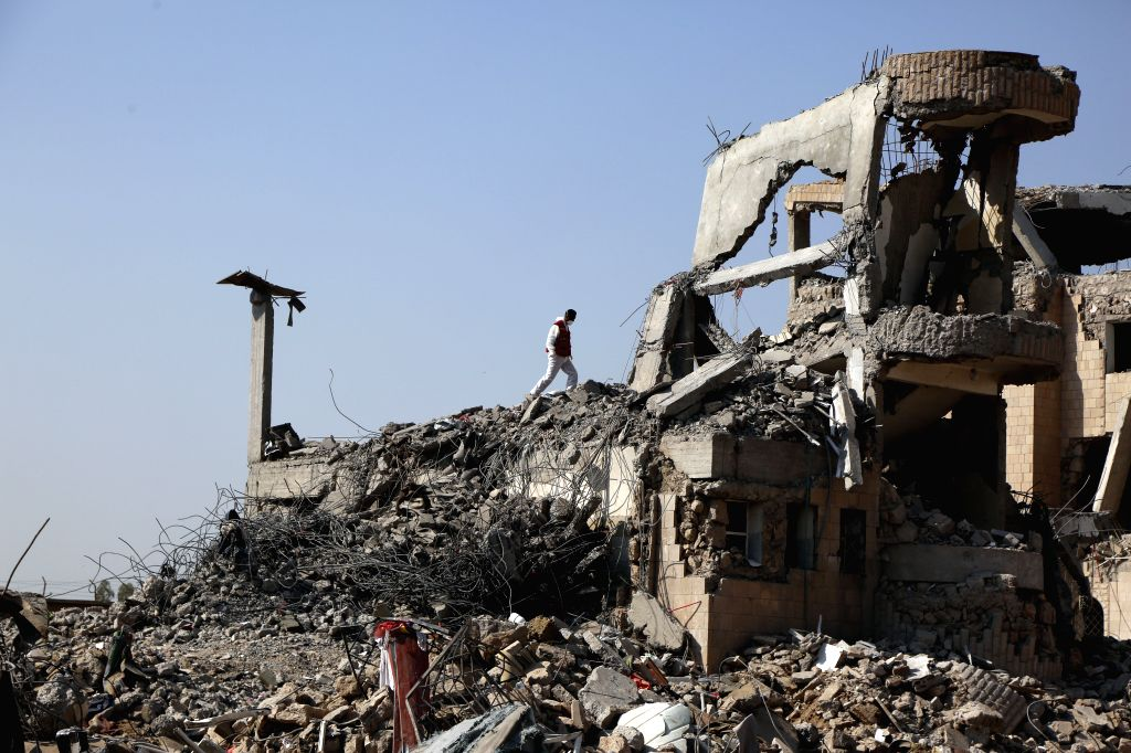 DHAMAR, Sept. 4, 2019 - A rescue worker searches for victims among rubble of a building hit by airstrikes, in Dhamar province, Yemen, Sept. 4, 2019. The United Nations Special Envoy to Yemen Martin ...