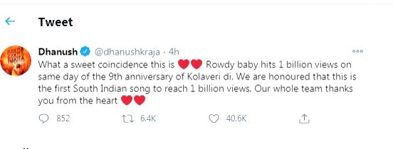 Dhanush is honoured as his 'Rowdy baby' is 1st south Indian song to get 1bn views.