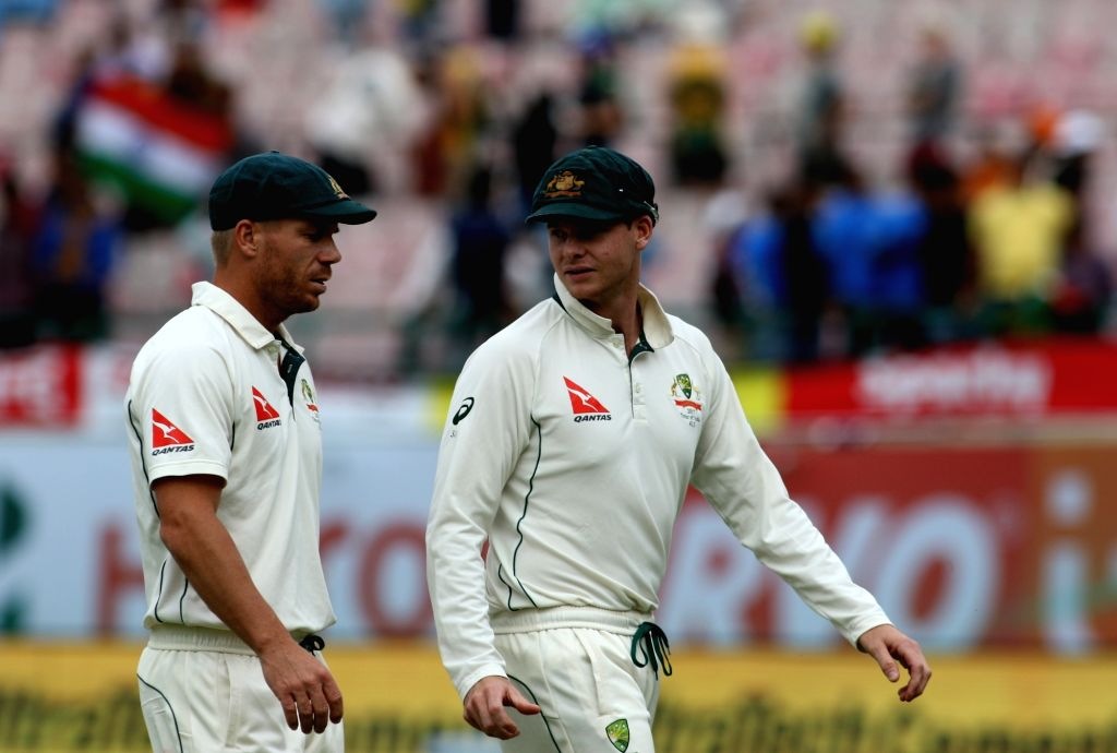 Dharamsala: Australian captain Steven Smith and David Warner walk back to the pavilion after the end of Day-1 of the fourth Test match between India and Australia at Himachal Pradesh Cricket Association Stadium in Dharamsala on March 25, 2017. (Photo - Steven Smith and Surjeet Yadav