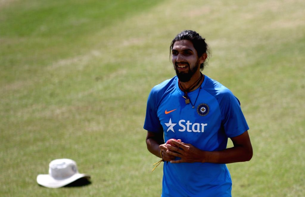 Dharamsala: Ishant Sharma of India during a practice session ahead of the fourth Test match between India and Australia at Dharamsala on March 24, 2017. (Photo: Surjeet Yadav/IANS) - Ishant Sharma and Surjeet Yadav