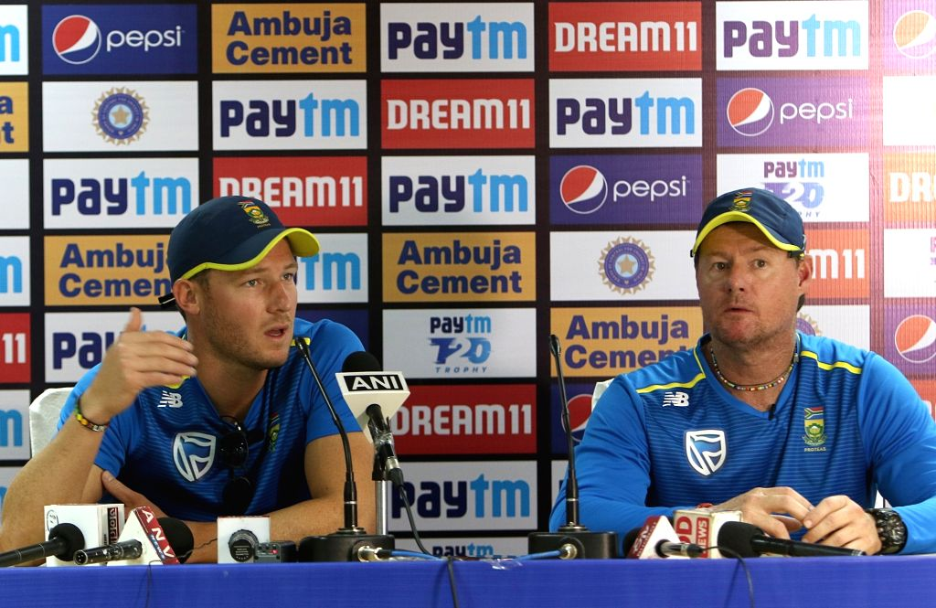 Dharamsala: South African cricketer David Millar accompanied by coach Lance Klusener, addresses a press conference on the eve of the first T20I match against India, at Himachal Pradesh Cricket Association Stadium in Dharamsala on Sep 14, 2019. (Photo - Surjeet Yadav