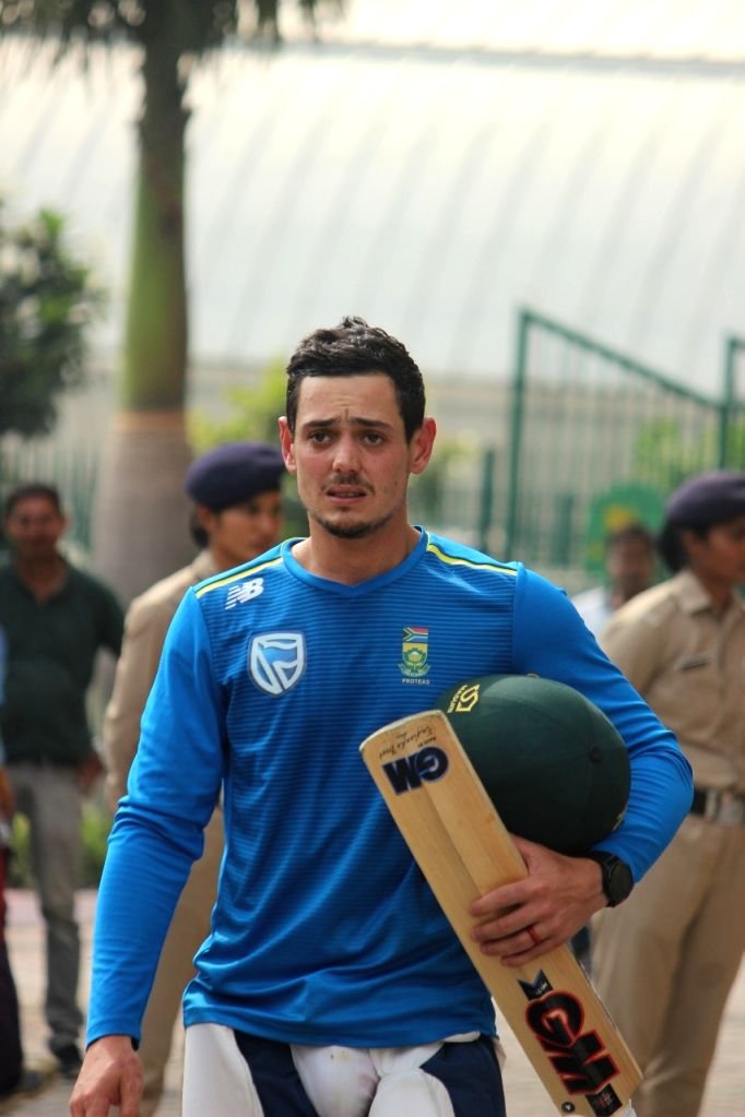 Dharamshala: South African cricketer Quinton de Kock during a practice session ahead of their first T20I match against India at Himachal Pradesh Cricket Association Stadium in Dharamshala on Sep 12, 2019. (Photo: IANS)