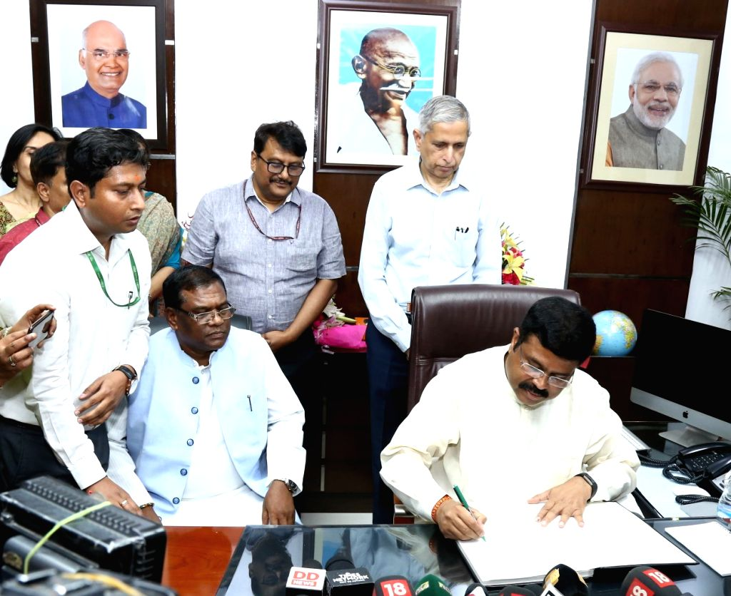 Dharmendra Pradhan takes charge as the Union Minister for Steel, in New Delhi on May 31, 2019.