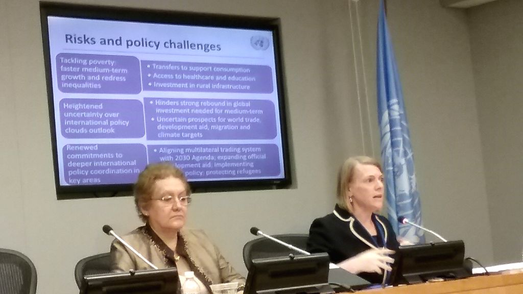 Diana Alarcon, chief of Global Economic Monitoring Unit, left, and Dawn Holland, a Senior Economic Affairs Officer, at the release of the mid-2017 update to the United Nations Economic Situation and ...