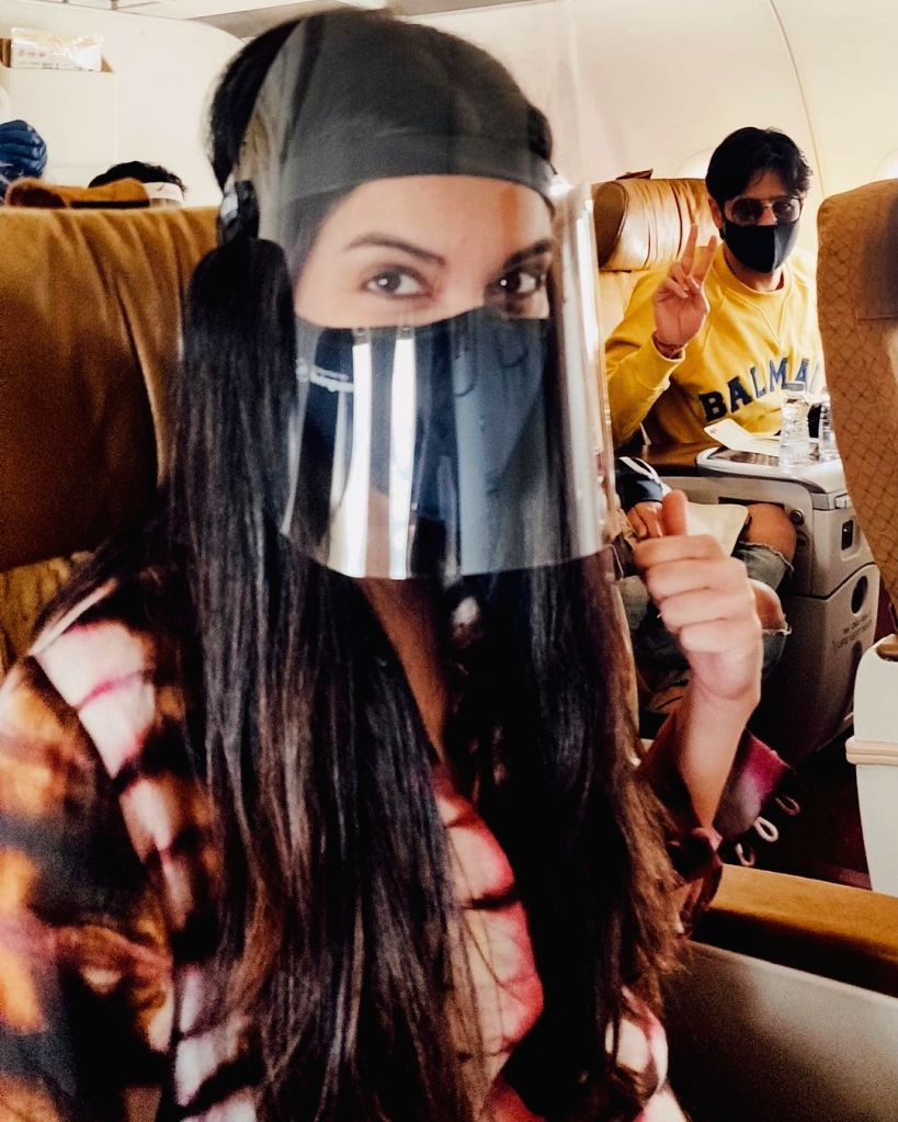 Diana Penty posts pics of flying in the time of Covid.