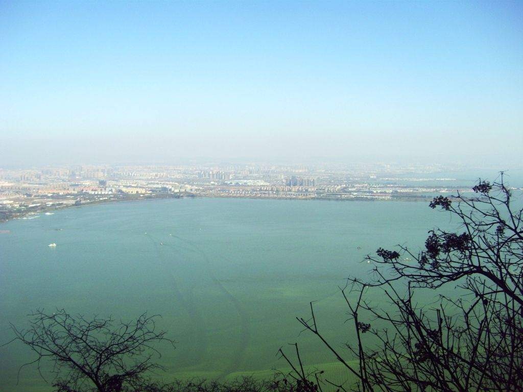 Dianchi Lake as seen from the top of Western Hills. Kunming city is in the background.