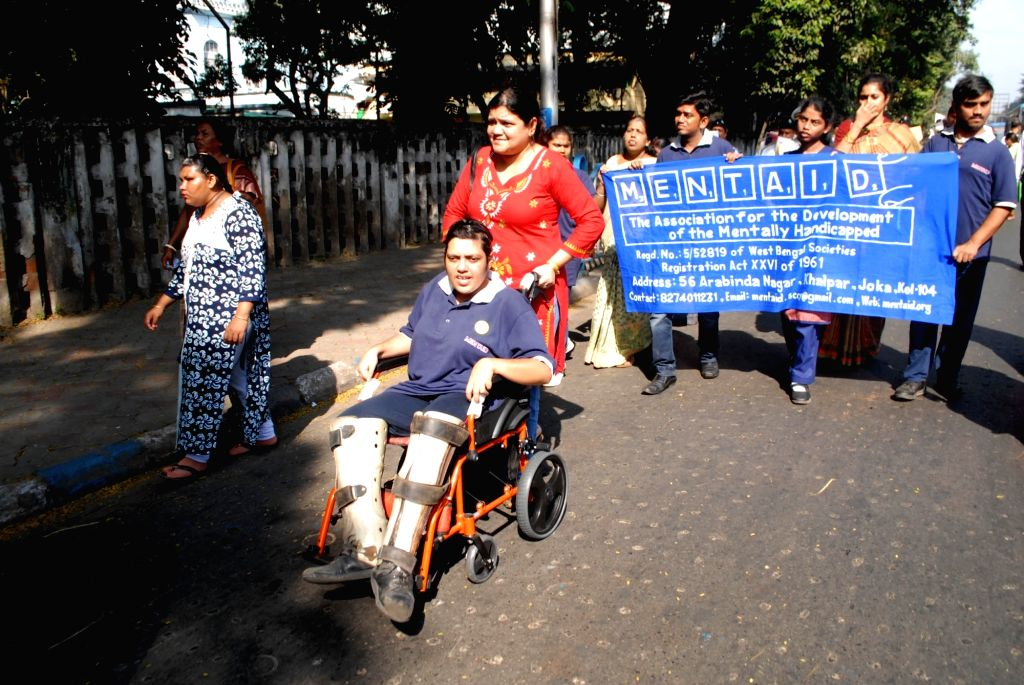 "Differently-able persons participate in an integrated awareness rally to mark ???International Celebration of Persons with Disabilities Week"" in Kolkata, on Dec 6, 2019."
