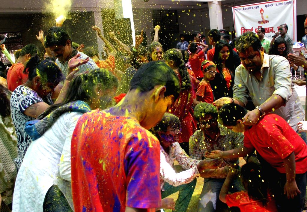 Differently-abled children celebrate Holi with eco friendly colours in Mumbai, on March 10, 2017.