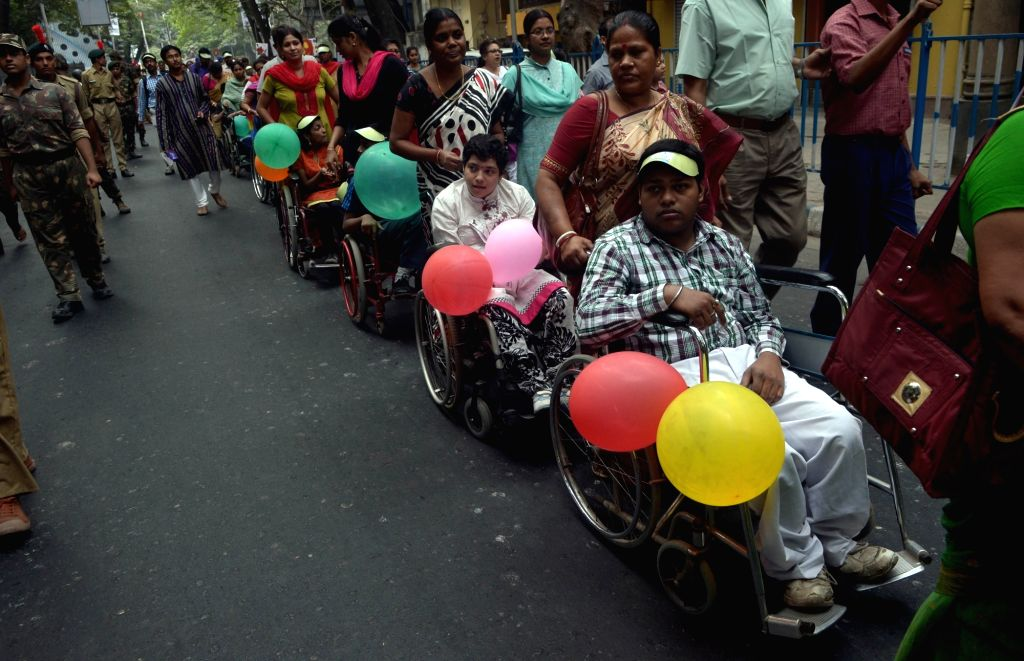 Differently-abled participate in a rally organised to observe World Disability Day in Kolkata  on Dec 3, 2015.