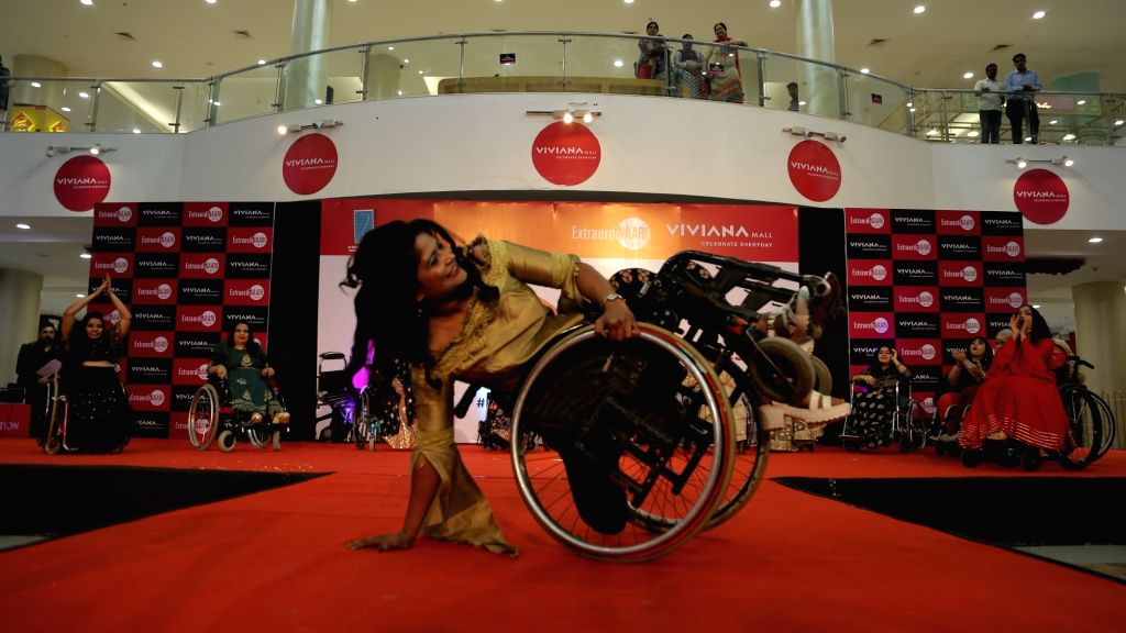 Differently-abled women participate in a programme organised on International Women's Day in Mumbai, on March 8, 2019.