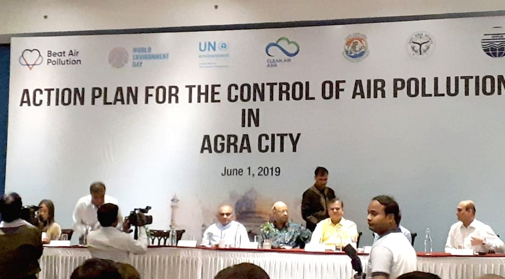 Dignitaries at the launch of the Agra City Action Plan, on June 1, 2019. The action plan for the control of Air Pollution was launched today by UP state pollution control board, in ...