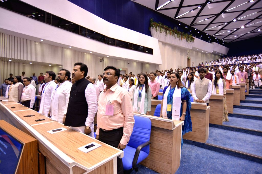 Dignitaries during convention of student leaders on the theme of 'Young India, New India'  and 125th anniversary of Swami Vivekanand's Chicago address in New Delhi on Sept 11, 2017.
