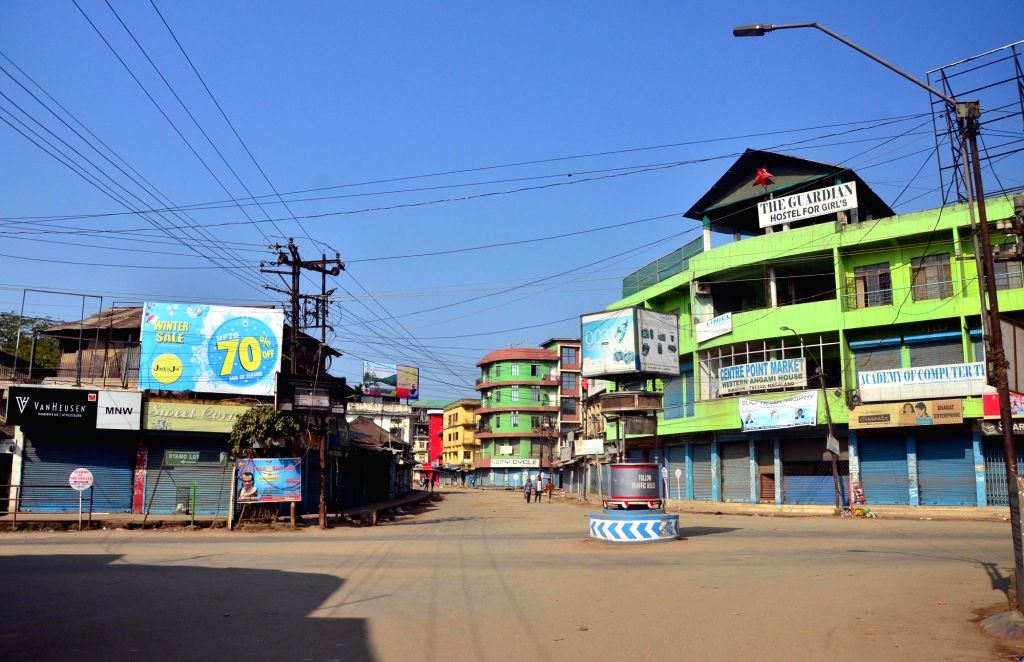 Dimapur: A view of deserted street in Dimapur during a dawn-to-dusk shutdown called in Nagaland to protest against the Citizenship (Amendment) Bill on Feb 11, 2019. (Photo: IANS)