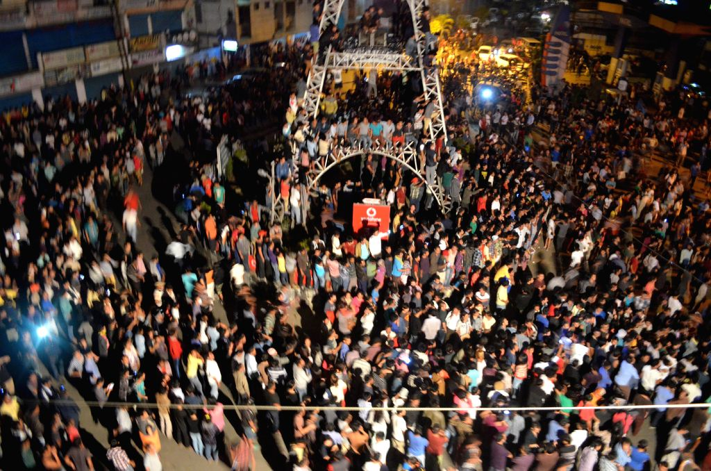 People in large numbers gather at the Clock Tower of Dimapur on 5 March 2015. An alleged rapist, suspected to be an illegal Bangladeshi migrant, was dragged out of high-security Dimapur ...