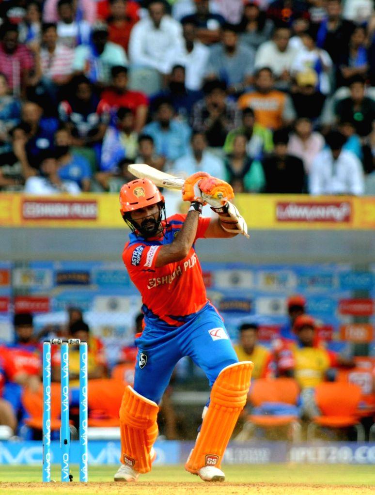Dinesh Karthik of Gujarat Lions in action during an IPL 2017 match between Mumbai Indians and Gujarat Lions at Wankhede Stadium in Mumbai on April 16. 2017.