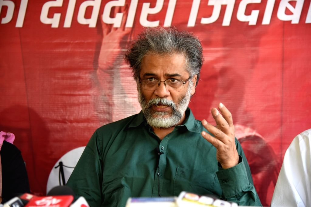 Dipankar Bhattacharya addressing a press conference in Patna on November 15, 2020.