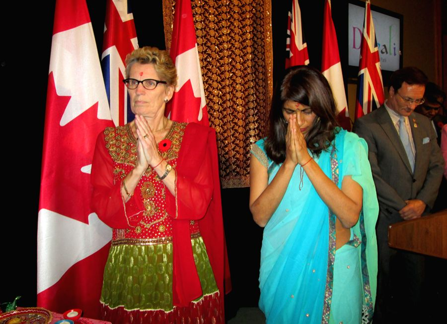 Dipika Damerla (right) with her Premier Kathleen Wynne at the Diwali celebrations at the state assembly in Toronto.