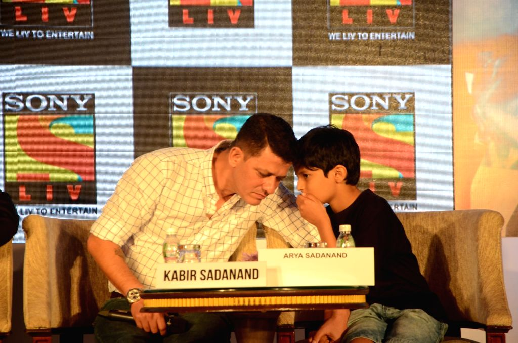 Directer Kabir Sadanand and child artist Arya Sadanand during a press conference of short film 'Papa, We Love You Too' in Mumbai on June 22, 2017. - Arya Sadanand