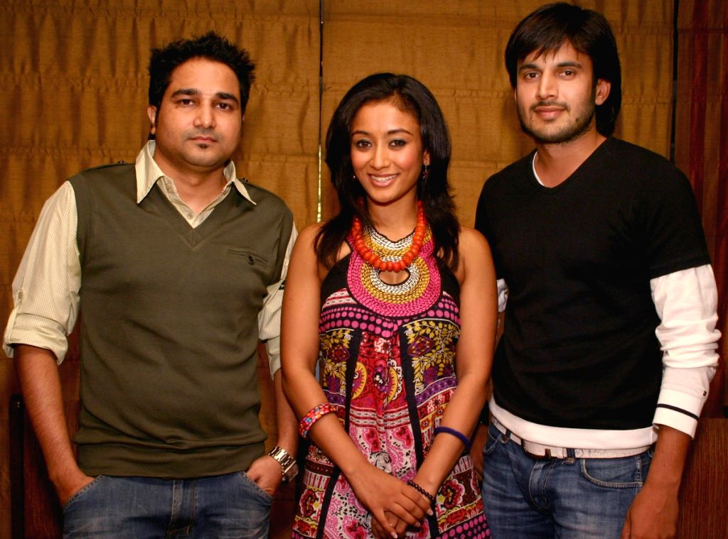 "Director Aarif Sheikh, Actress Gayatri Patel and Actor Ajay Choudhary at a press meet for the film ""Let's Dance"" in New Delhi on Tuesday 16 June 2009."