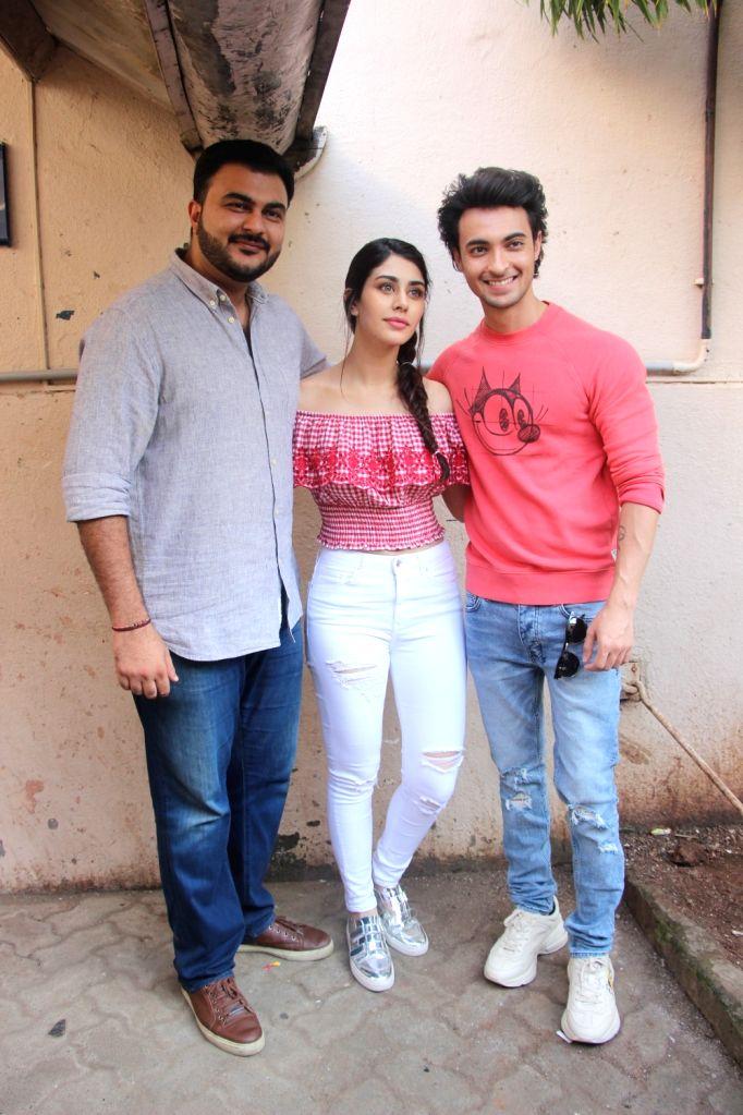 "Director Abhiraj Minawala, actors Warina Hussain and Aayush Sharma at the promotion of their upcoming film ""Loveratri"" in Mumbai on Sept 11, 2018. - Warina Hussain and Aayush Sharma"