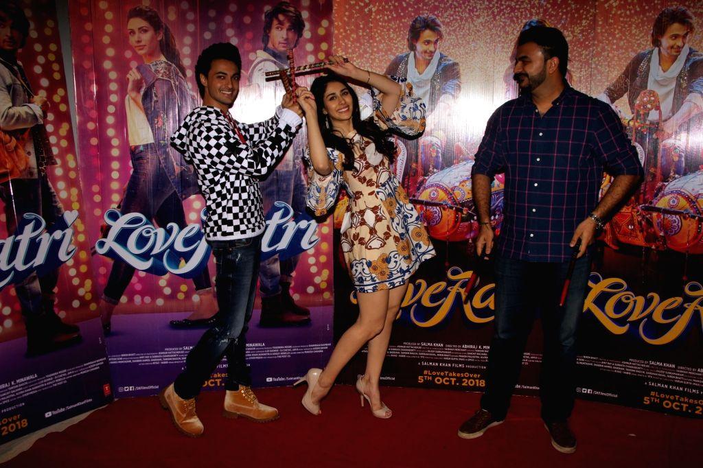 "Director Abhiraj Minawala, actors Warina Hussain and Aayush Sharma during the promotions of their upcoming film ""Loveratri"", in Mumbai on Sept 15, 2018. - Warina Hussain and Aayush Sharma"