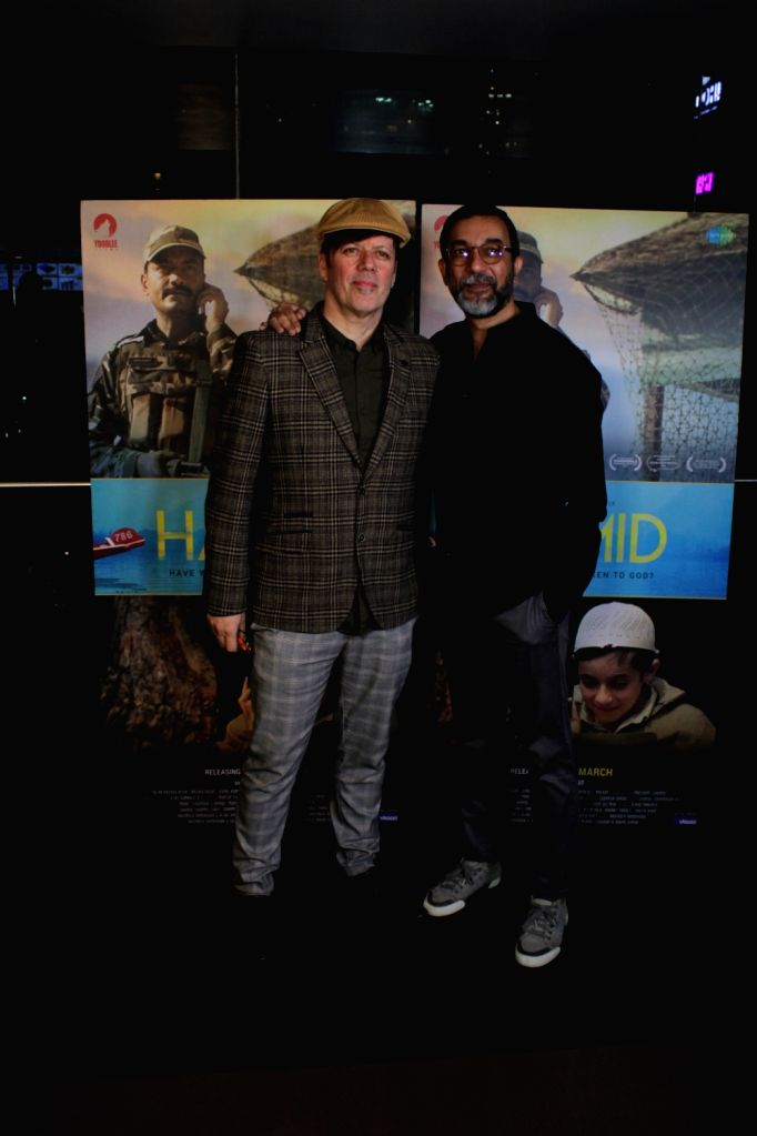 """Director Aijaz Khan and music composer Andrew T. Mackay at the screening of their upcoming film """"Hamid"""" in Mumbai, on March 13, 2019. - Aijaz Khan"""