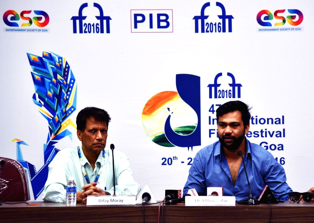 Director Ali Abbas Zafar (R) addresses a press conference during the 47th International Film Festival of India (IFFI-2016) in Panaji on Nov 25, 2016.