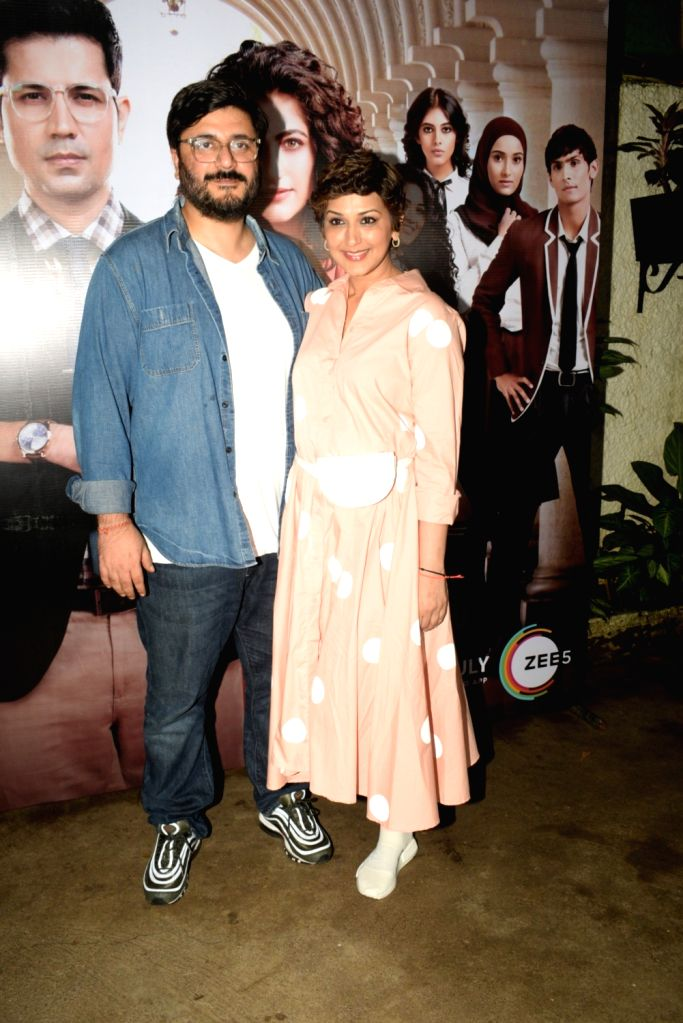 "Director and Producer Goldie Behl with his wife and actress Sonali Bendre at the screening of his upcoming ZEE5 Original series ""RejctX"", in Mumbai on July 24, 2019. - Sonali Bendre"