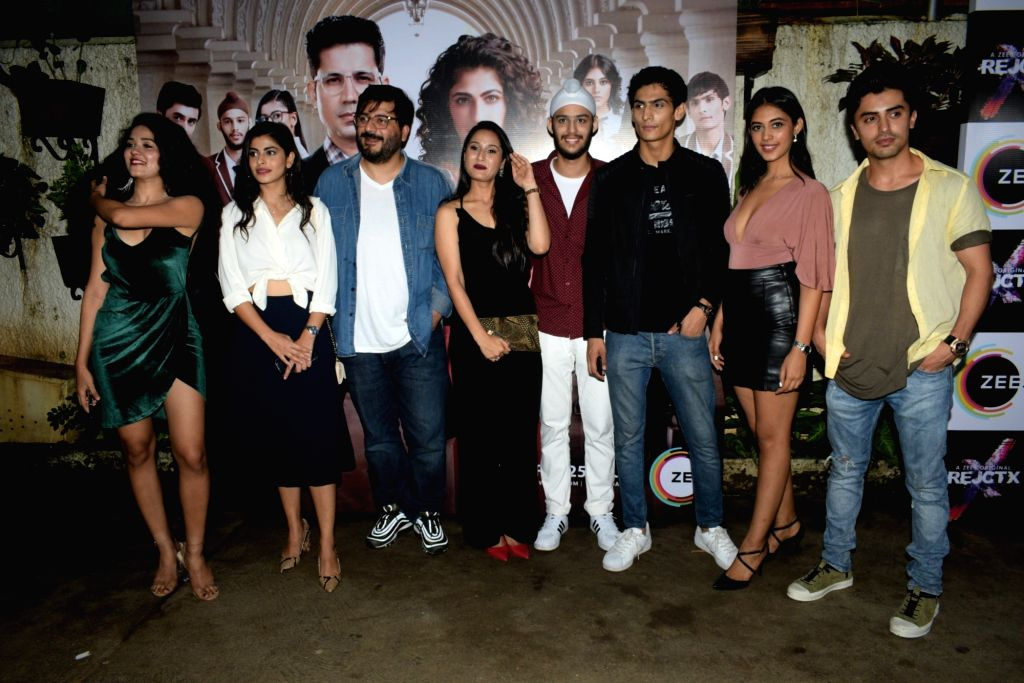 "Director and Producer Goldie Behl with the star cast of his upcoming ZEE5 Original series ""RejctX"", in Mumbai on July 24, 2019."