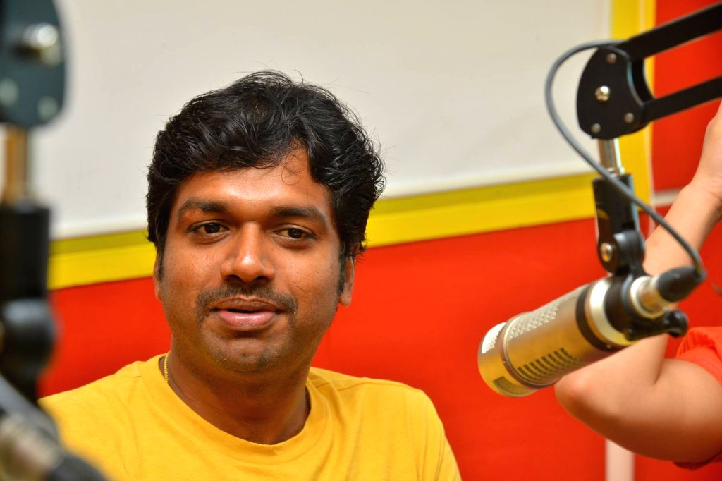 """Director Anil Ravipudi Pirzada during the promotion of their upcoming film """"Raja the Great"""" on the Radio Mirchi 98.3 FM in Hyderabad."""